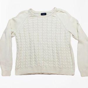 Boys Lands' End cream cotton cable sweater-XL 18